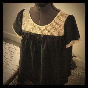 Cream lace babydoll blouse